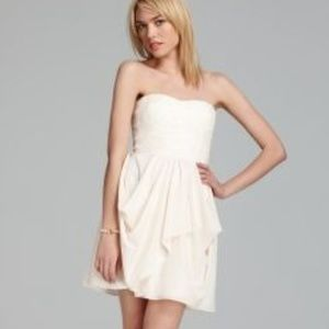 Cream/Ivory Strapless Aqua Dress with Lace Bodice